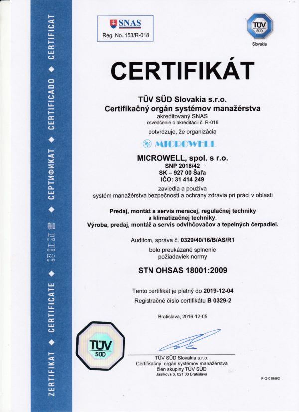 SK iso certifikat 18001